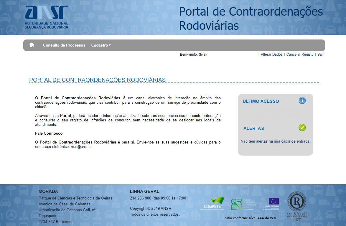 Entrada inicial do Portal após fazer login