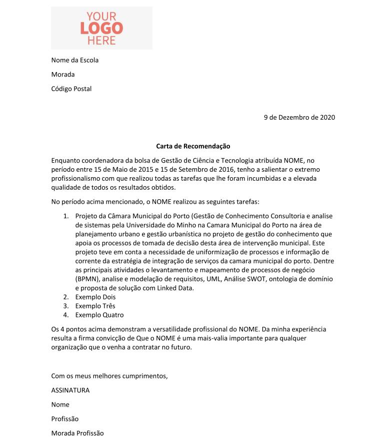 Exemplo de Carta de Recomendação